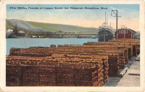 Houghton Michigan Copper Shipment Street View Antique Postcard K104416