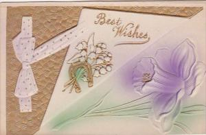 Best Wishes Gold Horseshoe and Purple Flower