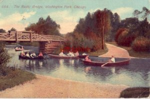 THE RUSTIC BRIDGE WASHINGTON PARK CHICAGO, IL 1914 canoeists