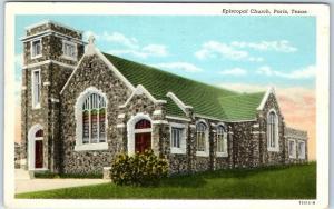 Paris, Texas Postcard Episcopal Church Street View Curteich Linen 1944 Cancel