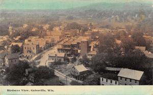 Galesville Wisconsin~Birdseye View Down Main Street~Businesses~1911 Postcard