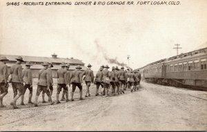 Military Colorado Fort Logan Recruits Entraining Denver & Rio Grande Railroad