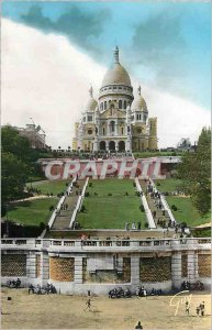 Modern Postcard Paris and Its Basilique du Sacre Coeur Wonders