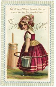 Raphael Tuck Valentine Brundage Little Sunbeams Poem Girl Churning Postcard