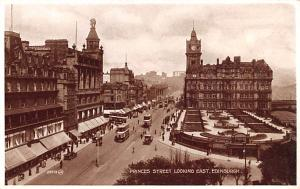 Scotland, UK Old Vintage Antique Post Card Princess Street looking east Edinb...