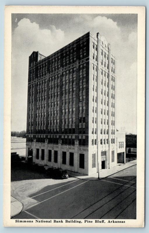Postcard AR Pine Bluff Simmons National Bank Building c1940s B03