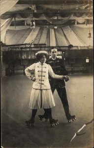 Roller Skating Couple Posing c1910 Unidentified Real Photo Postcard