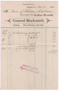 1912-3 Billhead, ZEPHIRE BRUNELLE, General Blacksmith, Chelsea, Vermont