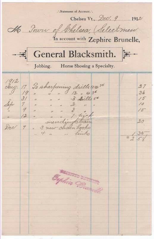 1912-3 Billhead, ZEPHIRE BRUNELLE, General Blacksmith, Chelsea, Vermont