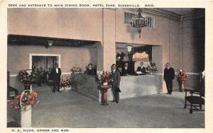 E21/ Zanesville Ohio Postcard c1920s Desk Main Dining Room Interior Hotel Zane 4
