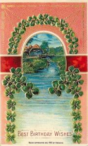 Heymann~Green Shamrock Portal~Red Peach Fade~Gold Leaf Art Nouveau~Emb~Germany