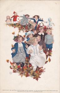 Children running through leaves , 1911