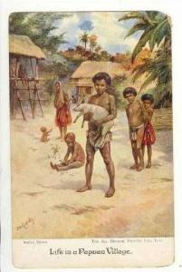 Natives with pig, Papuan Village, 00-10s