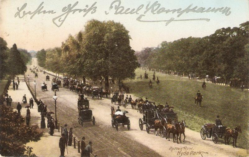 London. Rotten Row. Hyde Park. Cart Horses  Antique English postcard