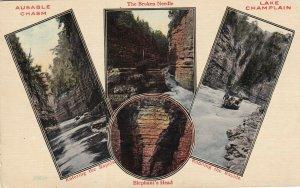 AUSABLE CHASM, New York, 1900-1910s; 4-views, Lake Champlain