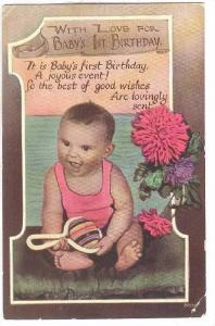 With Love for Baby's 1st Birthday, Happy Baby playing with rattle, flowers, 0...