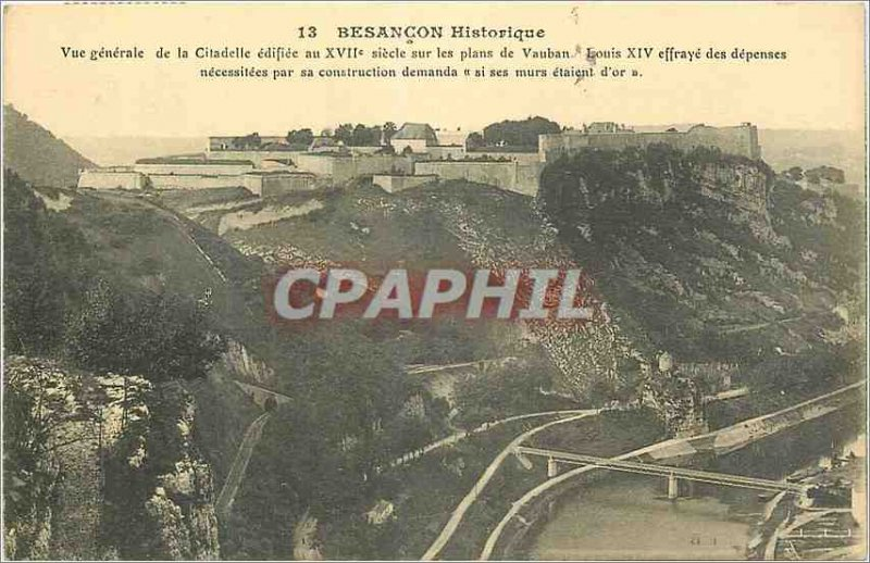 Old Postcard Besancon Historic General view of the Citadel