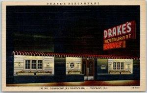 Chicago Postcard DRAKE'S RESTAURANT 131 North Dearborn Night View Curteich Linen