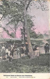 Manhattan KS Settlement Tree Hanging Postcard