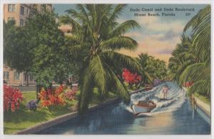 Miami FL Miami Beach Dade Canal And Dade Boulevard Water Skiing Tichnor Postcard