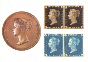 Postcard 1984 William 1837 Wyon City Medal, 1840 Penny Black, Two Penny Blue BR4