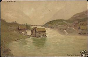 norway norge, NORDFJORD, artist signed (1910s)