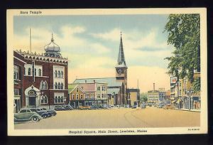 Lewiston, Maine/ME Postcard, Kora Temple, Hospital Square, Main Street