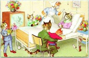 1973 Artist-Signed ALFRED MAINZER Postcard Hospital Scene / BUFFALO GROVE MALL