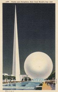 NEW YORK CITY World's Fair , 1939 ; Trylon & Perisphere , Night