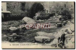 Postcard Old water mill Pont Aven The Evain mill on the weir