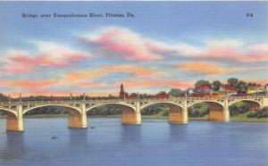 Pittston Pennsylvania~Bridge over Susquehanna~Large Arches~City on Shore~1940s
