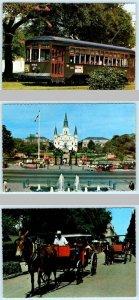 3 4x6 Postcards NEW ORLEANS, LA ~ Street Car, Carriages & Jackson Square 1980