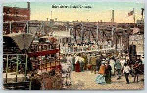 Chicago Illinois~Rush Street Bridge~Street Sweeper~Close View of Horses~1913