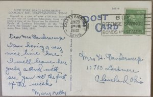 Vintage Postcard New York Peace Monument Lookout Mountain Chattanooga Tennessee