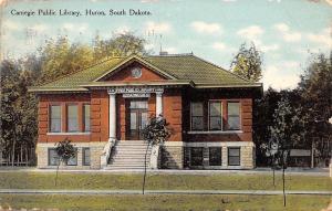 Huron South Dakota~Carnegie Public Library~New Trees 1910 Postcard