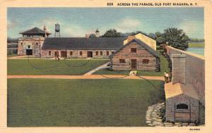 Across the Parade, Old Fort Niagara, New York, Early Postcard, Unused