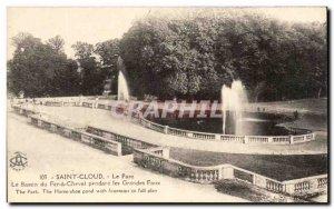 Postcard Old Saint Cloud Le Parc Le Bassin Du Fer A Cheval During Grandes Eaux