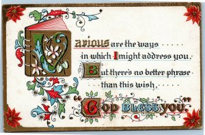God Bless you - embossed antique  postcard L&E series 2274
