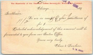 Vintage Chicago IL Advertising Postcard CHASE & SANBORN COFFEE w/ 1889 Cancel