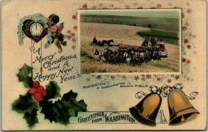 1912 Washington Holiday Greetings Postcard Farming / Harvest Scene HAND-COLORED