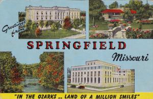 4-Views, Large Letters, Greetings from SPRINGFIELD, In the Ozarks .. Land of...