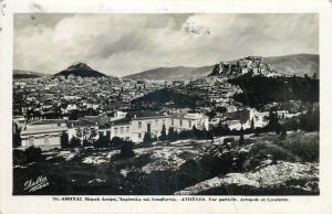 Athens Greece 1939 Delta photo postcard partial view Acropolis