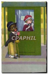 Postcard Old Negro color Child Train Phone