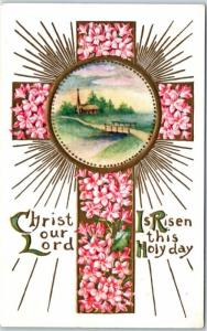 Vintage EASTER Holiday Embossed Postcard Christ Our Lord is Risen This Holy Day