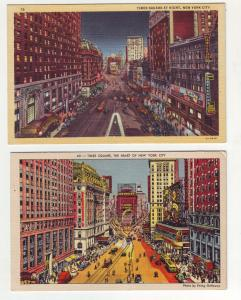 P1137 2 linen postcard busy view time square new york transportation, signs etc