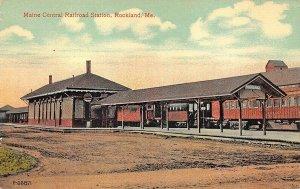 Rockland ME Maine Central Railroad Station Train Depot Postcard
