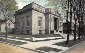 Lima Ohio~Carnegie Library Corner View~House Next Door~1910 Postcard