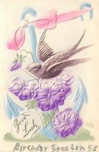 Brown Bird Flies Past Blue Anchor~Pink Ribbon~Purple Flowers~Green~Airbrushed