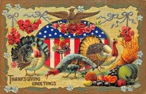 PATRIOTIC THANKSGIVING~TURKEYS-GILT EAGLE EMBOSSED 1909 POSTCARD