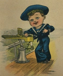 c. 1915 You're My Chief Aim in Life Postcard Cute Boy in Sailor Outfit on Boat
